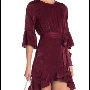 J.O.A. Satin Wrap Dress